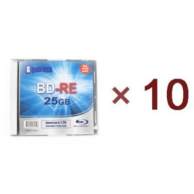 10pcs Gigablock ReWritable Blu-Ray BD-RE 1~2x 25GB Logo Printed Blank Media with Jewel Case by Gigablock