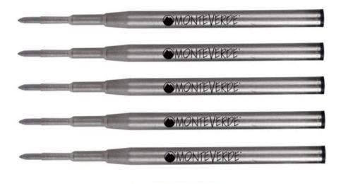 5 pack - Monteverde Ballpoint Refill to Fit Montblanc Twist-Action Ballpoint Pens, GEL Ink, Medium Point (Black)