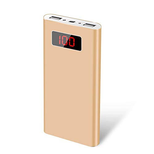 ElfAnt External Battery Charger Portable Aluminum Alloy Shell Power Bank Digital Display LED Light for iPhone Samsung LG Nintendo Xbox Portable Speakers and More (Gold)