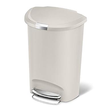 simplehuman Semi-Round Step Trash Can, Stone Plastic, 50 L / 13 Gal