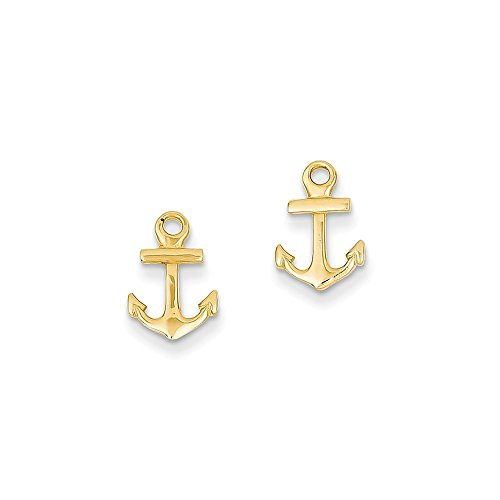 14K Yellow Gold Anchor Post Earrings