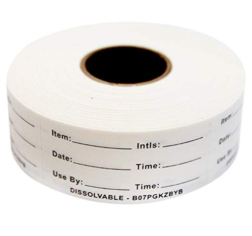 Dissolvable Food Labels for Home or Restaurant Perfect for Glass, Metal, Plastic Reusable Containers 500 Labels per roll 1x2 inch Dissolves in Water in 30 sec Leaves no Adhesive Residue. Made in USA (Food Container Labels)