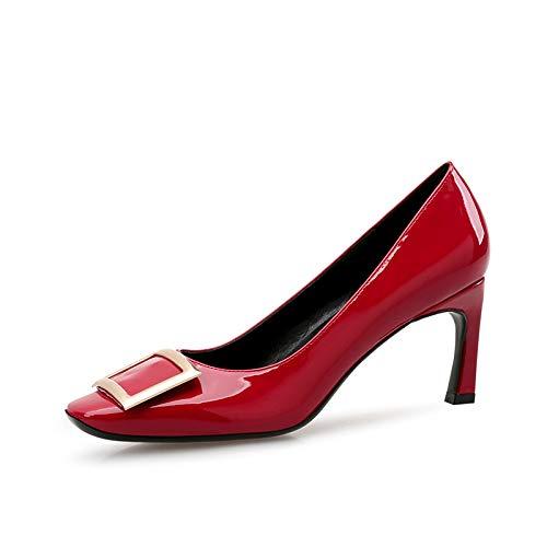 Lianaic Tacchi alti Scarpe da Donna Scarpe con Tacco Alto con Fibbia Superficiale Lacca Rosso 38