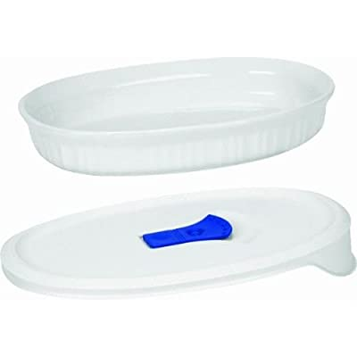 French White 24-oz. Round Baker with Ceramic Lid
