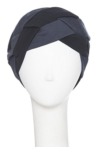 Just In Time Interlock Braid Overlay For Chemo Caps and Hats - 100% Cotton, Black/Dark Charcoal