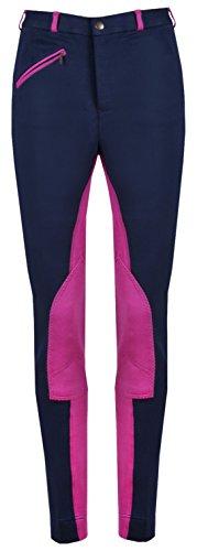 (GS Equestrian GL001 Ladies Womens Jodhpurs Breeches Jods (Navy/Pink, 36))