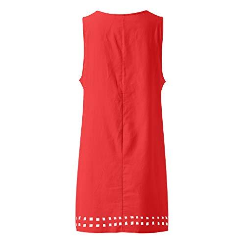 Bouton Manches Robes Lin Coton Boho Robe Plage Casual Femmes Maxi Rouge Greatestpak Gilet Été Sans Poches J3lFcTK1