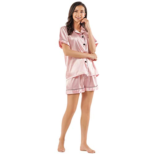 Womens Satin Silk Pajamas Top - GAESHOW Women's Satin Silk Pajamas Set Short Sleeve Button-Down Pj Set Sleepwear Loungewear Two Piece Pj Sets(Pink,S)
