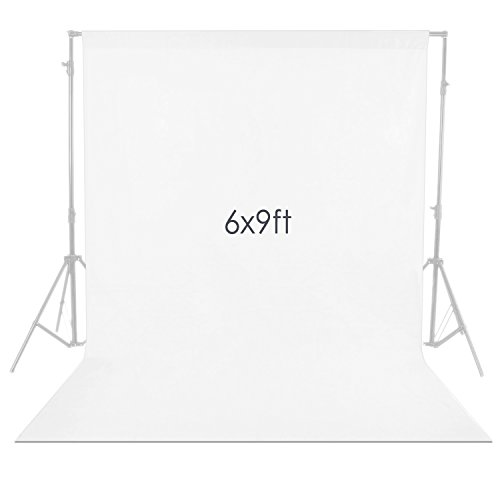 Neewer 6 x 9FT / 1.8 x 2.8M Photo Studio 100% Pure Muslin Collapsible Backdrop Background for Photography,Video and Televison (Background ONLY) - White -