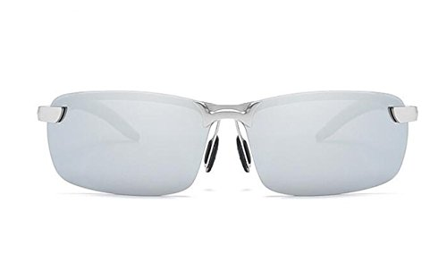 de Moda Plata UV Sol Sol Hombres Protección con Ultra Gafas polarizadas de para plata Hombres Deportivas Metal blanca Ligero Conducción Tukistore Gafas de Marco de WXBW4qv