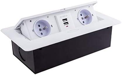 Caja de enchufe empotrable abatible, 3 m, con tapa, 2 puertos USB y 2 enchufes Schuko, color blanco: Amazon.es: Bricolaje y herramientas