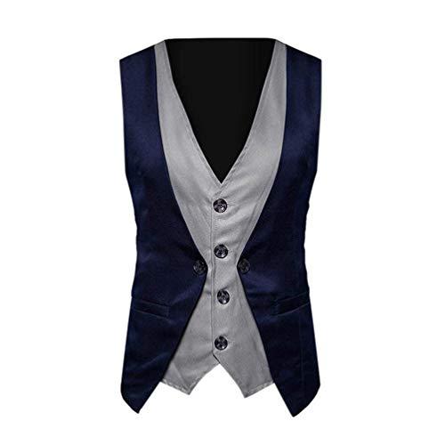 Deux Croisées Vêtements Esailq Hommes Rétro Marine Pièces Vest Blush Veste Suit Slim Rayures Coupe f0wXqxnUH