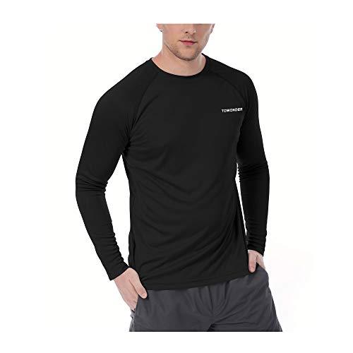 TOWONDER Mens UPF 50+ UV Sun Protection Long Sleeve Running Workout Outdoor Performance T-Shirt