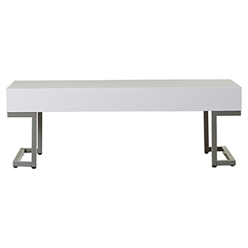 Vida Modern Coffee Table White Finish Rectangle Functional Table Top Stainless Steel Legs Black Serving Tray Modern Style Mercury Row Sturdy Structure Eco-friendly Attractive Piece of Furniture