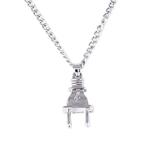 Personalized Necklace, Botrong Power Plug Pendant Hip Hop Cuban Necklace Chain (Bone Plug Cross)