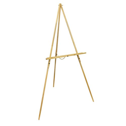 US Art Supply Torrey 64 inch High x 27-1/2 inch Wide Wooden Tripod Display Floor Easel & Artist Easel, Adjustable Tray Chain (4-Easels)