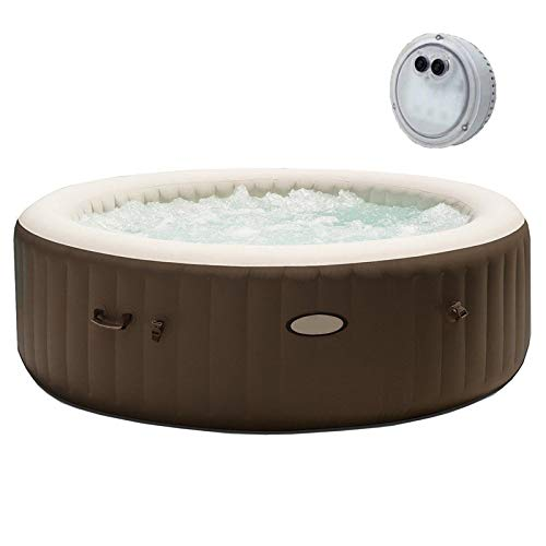 MRT SUPPLY Spa Portable Inflatable Bubble Jet Massage Heated Hot Tub & LED Light with Ebook (What's The Best Inflatable Hot Tub)