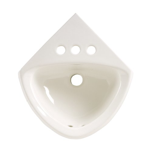 (American Standard 0451.021.020 Corner Minette Wall Hung Corner Sink with Faucet Holes On 4-Inch Centerset, White)