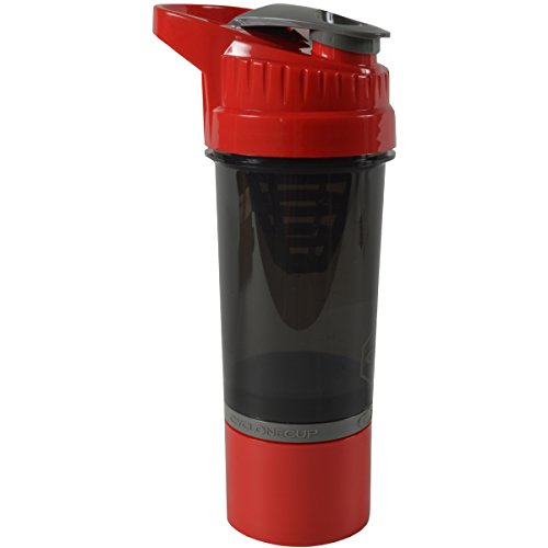 """Cyclone Cup - Shaker Bottle For Powder, Protein Shaker With Secure-Lock And Tight-Sealed Lid For """"No Leak"""" Protection Red"""