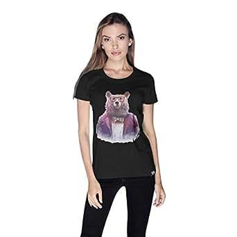 Creo Bear Pug Life Round Neck T-Shirt For Women - Xl, Black