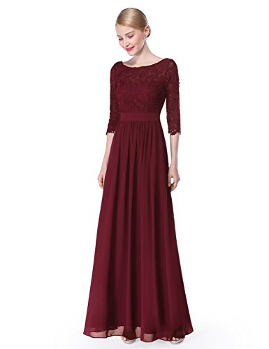 Ever-Pretty Womens Illusion Lace Neckline Floor Length Prom Dress 4 US Burgandy