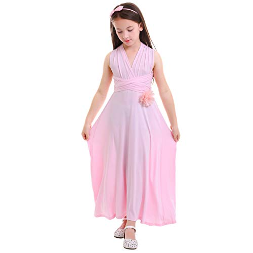(Little Girl Transformer Infinity Convertible Multi Way Wrap Evening Party Dress Short Sleeveless Wedding Bridesmaid Prom Dance Gown Loose Fit Full Length Long Dancewear Praise Liturgical Dress)