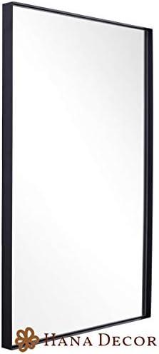 Hana Decor Contemporary Brushed Metal Black Wall Mirror 24″ x 36″
