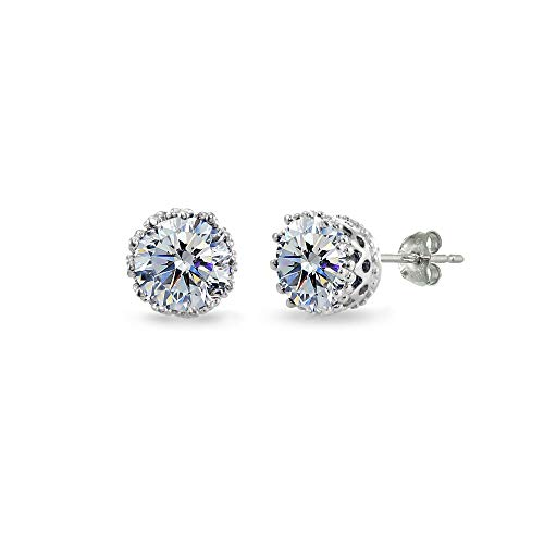 Sterling Silver Polished Clear 6mm Round-cut Crown Stud Earrings Made with Swarovski Crystals