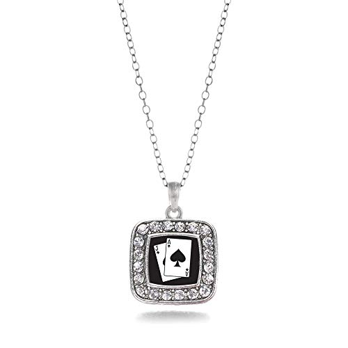 Inspired Silver - Blackjack Charm Necklace for Women - Silver Square Charm 18 Inch Necklace with Cubic Zirconia Jewelry