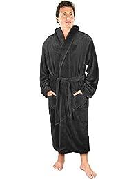 Luxurious Men s Shawl Collar Fleece Bathrobe Spa Robe 4cc338de2