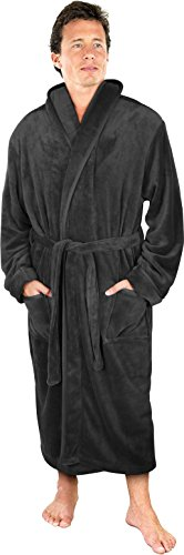 NY Threads Luxurious Men's Shawl Collar Fleece Bathrobe Spa Robe (Grey, S/M)