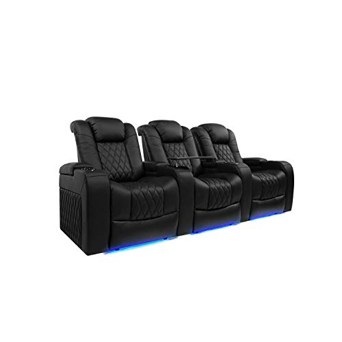 (Valencia Tuscany Top Grain Nappa Leather Power Reclining, Power Lumbar, Power Headrest Home Theater Seating (Row of 3, Black))