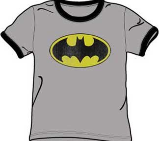 Batman+Retro+Shirts Products : Batman RETRO BAT LOGO Gray/Black Adult Ringer T-shirt Tee Shirt