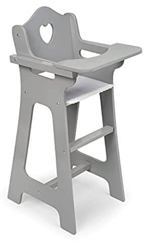 Badger Basket Badger Basket Doll High Chair (Fits American Girl Dolls) Doll Furniture, Gray - Doll Furniture High Chair