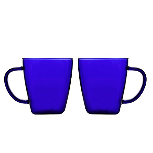 - 17 Ounce Glass Cups Coffee Mugs with Handles Made of Borosilicate Pyrex Cup for Espresso Juice Water Milk Set of 2 Dark Blue
