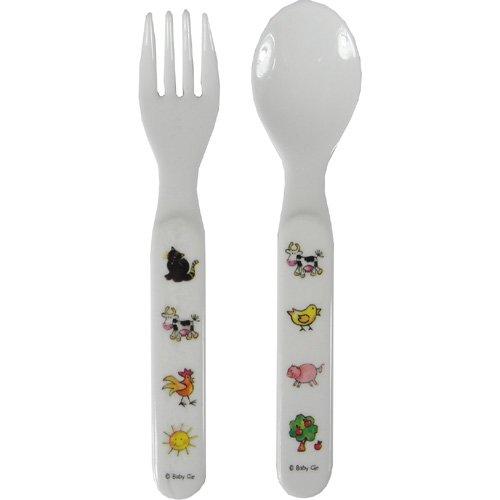 Fork Spoon Set Baby Cie Farm Animals: Les Animaux de la Ferme Melamine Colorful dinnerware with wording