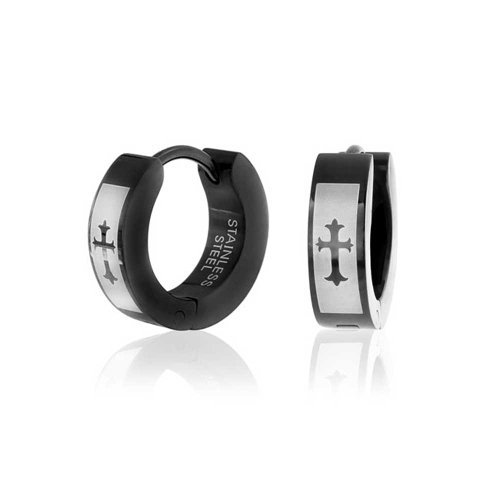 Laser Etched Fleur De Lis Cross Black Huggie Hoop Kpop Earrings For Men Or Women Black Ip Plated Stainless Steel (Etched Laser Cross)