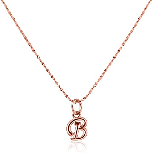 PearlsNSilver Personalized Tiny Dainty Initial B Necklace Rose Gold Over Sterling Silver (B ()