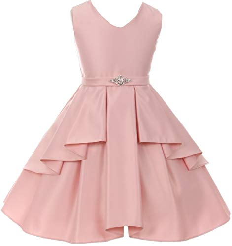 Big Girls' Solid Dull Satin Overlays Brooch Sash V Neck Flower Girl Dress Blush 10 (G35G71) for $<!--$39.99-->