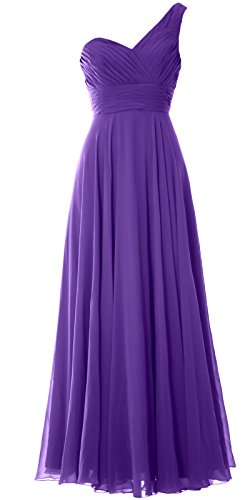 MACloth Women One Shoulder Long Bridesmaid Dress Wedding Party Evening Gown Morado
