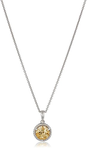 Citrine Rope - Sterling Silver Citrine Solitaire Pendant Necklace with Rope border, 18