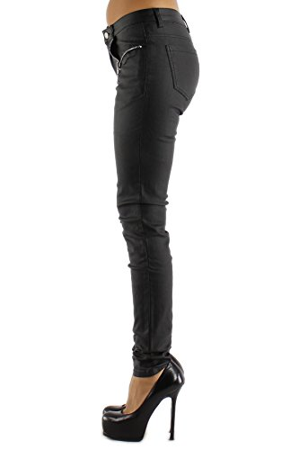 Pantalones con aspecto de cuero pierna recta pantalones vaqueros para mujer negro con tachuelas tamaños UK 810121416