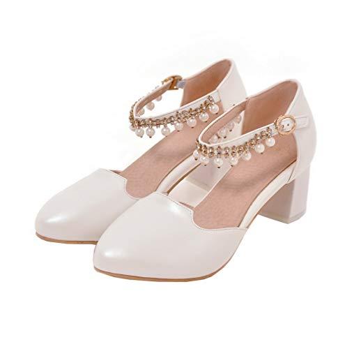 Flats Fibbia Ballet FBUIDD006369 Tacco AllhqFashion Medio Bianco Puro Donna Luccichio 8Y6q80In