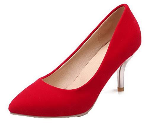 Donna Tacco AgooLar Rosso Pelle Ballet di Puro Chiusa Punta Mucca GMMDB006280 Flats Medio TRdwqRY