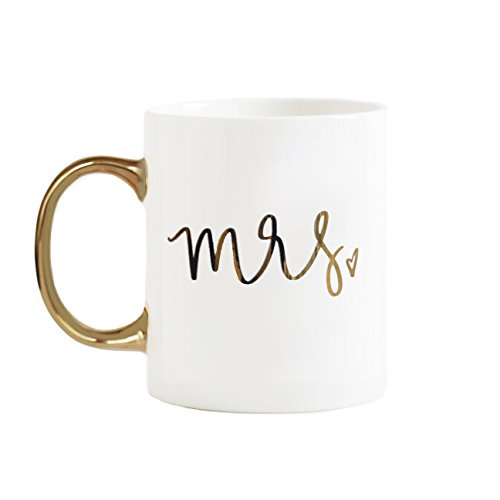 White Mrs. Coffee Mug | Engaged Mug I Said Yes! Does This Ring Make Me Look Engaged Miss to Mrs Coffee Cups Gold Handle Fancy Cute Mugs 11 Ounces Ceramic Fine Bone China Hand Lettered