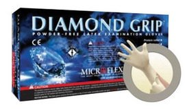 Microflex Medium Natural Diamond Grip 6.3 mil Latex Medical Grade Powder-Free Disposable Gloves -1 Case of 10 Boxes - 100 per box by MICROFLEX CORP
