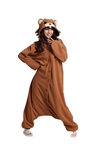 Lifeye Adult Coffee Bear Pajamas Animal Cosplay Costume Brown ()