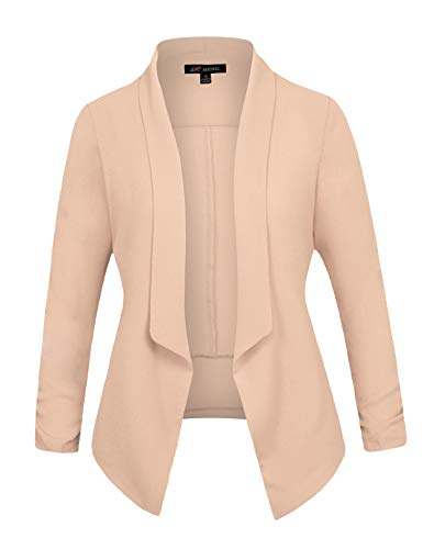 Michel Women's 3/4 Sleeve Blazer Casual Open Front Cardian Jacket Work Office Blazer Beige -