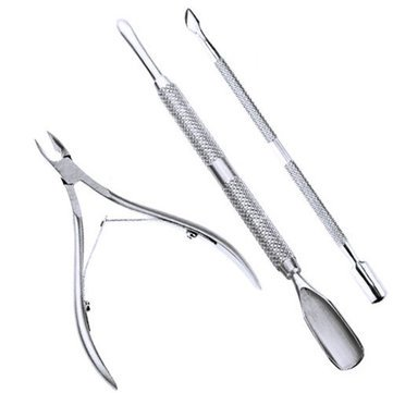 Nail Tools - 3pcs Stainless Steel Nail Cuticle Spoon Pusher Remover Cutter Nipper Clipper Set