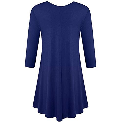 HAALIFE◕‿Womens 3/4 Sleeve Loose Fit Swing Tunic Tops Basic T Shirt Dark Blue